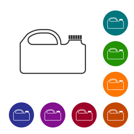 Black line Plastic canister for motor machine oil icon isolated on white background. Oil gallon. Oil change service and repair. Set icons in color circle buttons. Vector Illustration