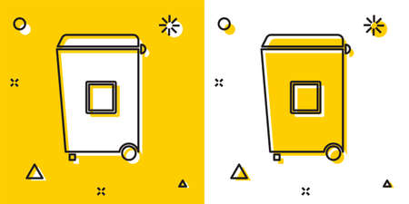 Black Trash can icon isolated on yellow and white background. Garbage bin sign. Recycle basket icon. Office trash icon. Random dynamic shapes. Vector Illustration Stock Illustratie