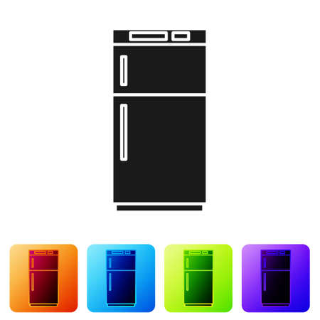 Black Refrigerator icon isolated on white background. Fridge freezer refrigerator. Household tech and appliances. Set icons in color square buttons. Vector Illustration Vector Illustratie