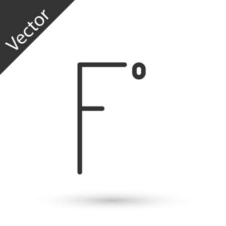 Grey line Fahrenheit icon isolated on white background. Vector Illustration