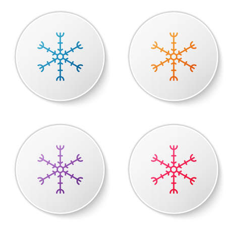 Color line Snowflake icon isolated on white background. Set icons in circle buttons. Vector Illustration 矢量图像