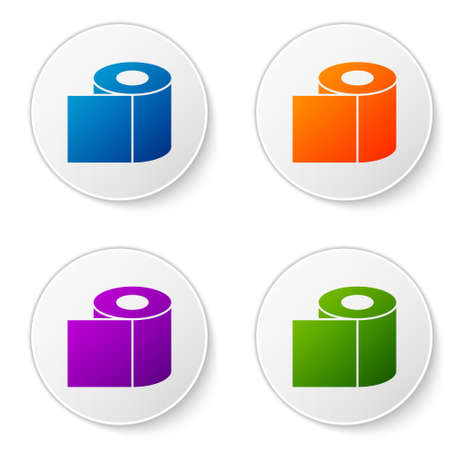 Color Toilet paper roll icon isolated on white background. Set icons in circle buttons. Vector Illustration
