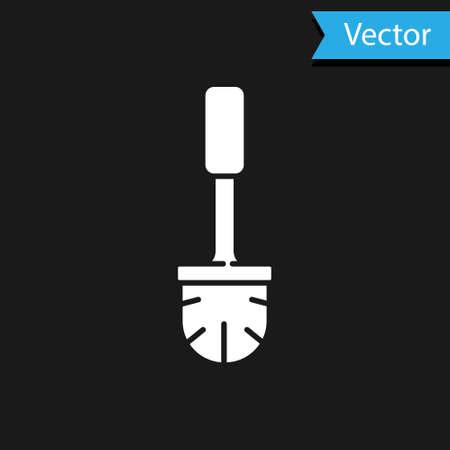 White Toilet brush icon isolated on black background. Vector Illustration