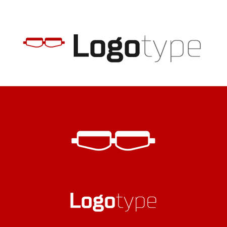Red Safety goggle glasses icon isolated on white background. Logo design template element. Vector Illustration