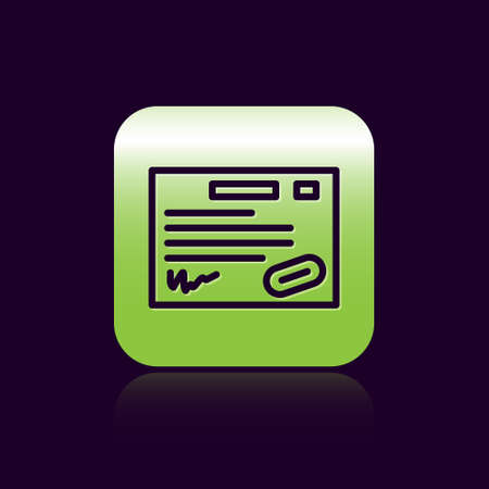 Black line Warranty certificate template icon isolated on black background. Green square button. Vector Illustration