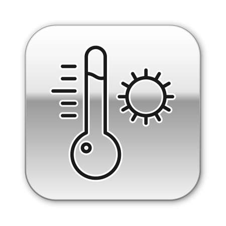 Black line Meteorology thermometer measuring icon isolated on white background. Thermometer equipment showing hot or cold weather. Silver square button. Vector Illustration