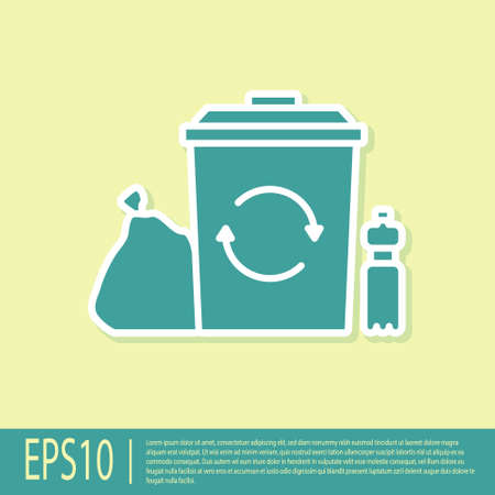 Green Recycle bin with recycle symbol icon isolated on yellow background. Trash can icon. Garbage bin sign. Recycle basket. Vector Illustration Stock Illustratie