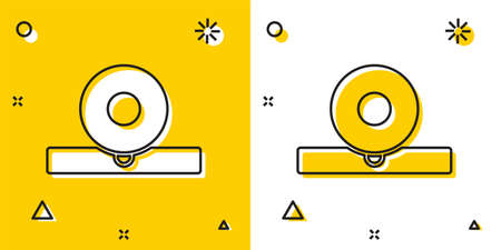 Black Otolaryngological head reflector icon isolated on yellow and white background. Equipment for inspection the patients ear, throat and nose. Random dynamic shapes. Vector Illustration