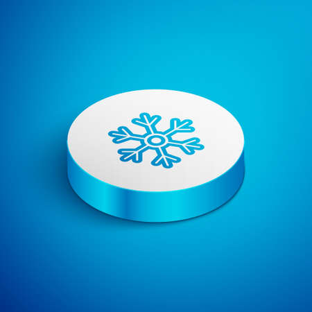 Isometric line Snowflake icon isolated on blue background. White circle button. Vector Illustration 矢量图像