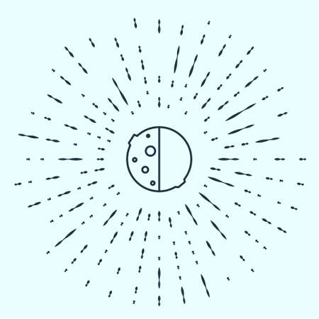 Black line Eclipse of the sun icon isolated on grey background. Total sonar eclipse. Abstract circle random dots. Vector Illustration