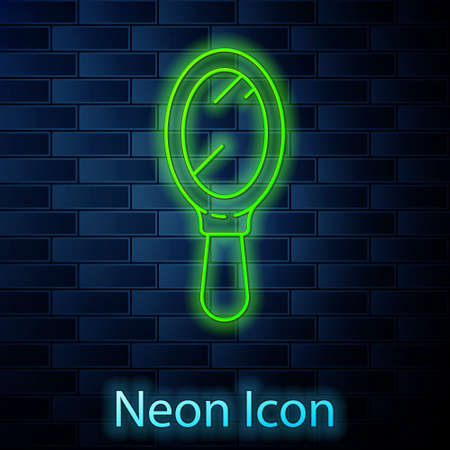 Glowing neon line Hand mirror icon isolated on brick wall background. Vector Illustration Illustration