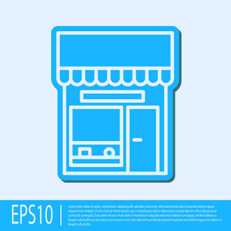 Blue line Shopping building or market store icon isolated on grey background. Shop construction. Vector Illustration