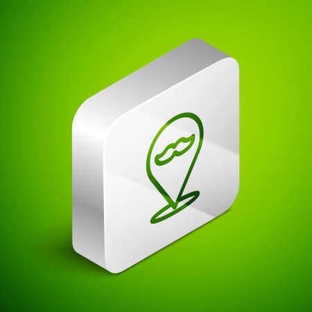 Isometric line Barbershop icon isolated on green background. Hairdresser logo or signboard. Silver square button. Vector Illustration
