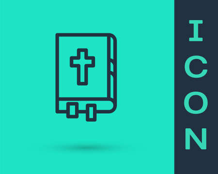 Black line Holy bible book icon isolated on green background. Vector Illustration