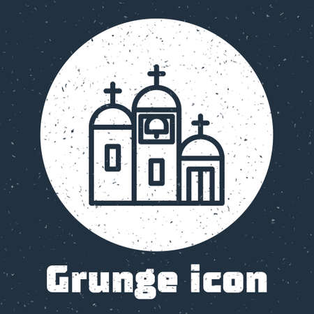 Grunge line Church building icon isolated on grey background. Christian Church. Religion of church. Monochrome vintage drawing. Vector Illustration