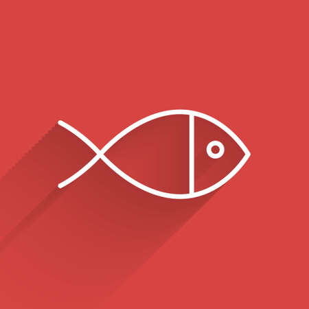 White line Christian fish symbol icon isolated with long shadow. Jesus fish symbol. Vector Illustration