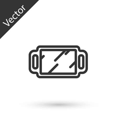 Grey line Hand mirror icon isolated on white background. Vector Illustration