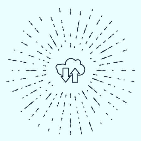 Black line Cloud download and upload icon isolated on grey background. Abstract circle random dots. Vector Illustration