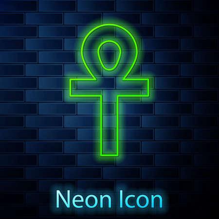 Glowing neon line Cross ankh icon isolated on brick wall background. Vector Illustration Illusztráció
