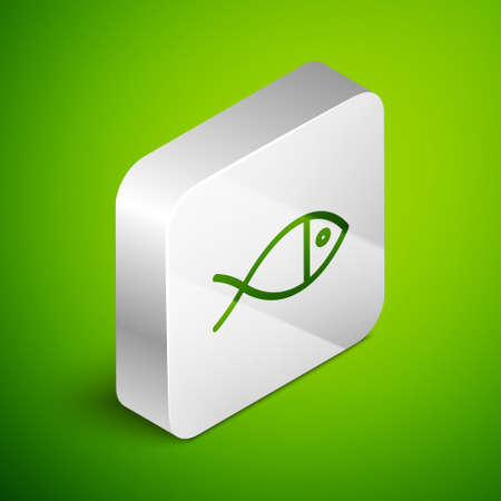 Isometric line Christian fish symbol icon isolated on green background. Jesus fish symbol. Silver square button. Vector Illustration