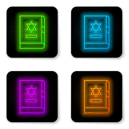 Glowing neon line Jewish torah book icon isolated on white background. On the cover of the Bible is the image of the Star of David. Black square button. Vector Illustration