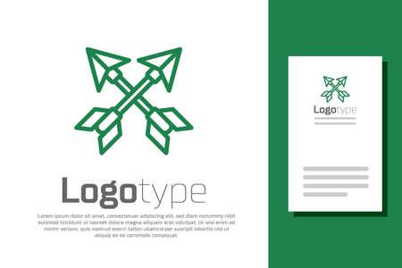 Green line Crossed arrows icon isolated on white background. Logo design template element. Vector Illustration Illusztráció