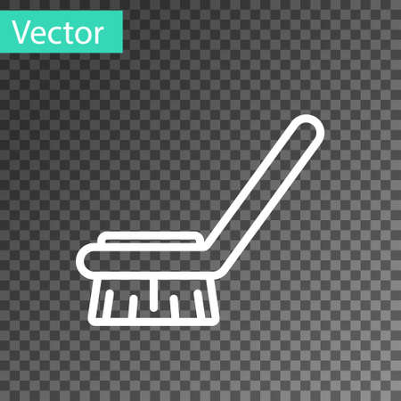 White line Brush for cleaning icon isolated on transparent background. Cleaning service concept. Vector Illustration Ilustração