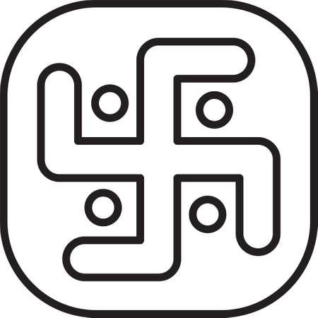 Black line Jainism icon isolated on white background. Vector Illustration