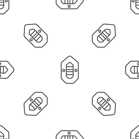 Grey line Rafting boat icon isolated seamless pattern on white background. Inflatable boat. Water sports, extreme sports, holiday, vacation. Vector Illustration