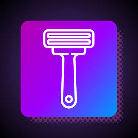White line Shaving razor icon isolated on black background. Square color button. Vector Illustration