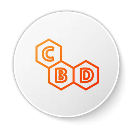 Orange line Cannabis molecule icon isolated on white background. Cannabidiol molecular structures, THC and CBD formula. Marijuana sign. White circle button. Vector Illustration