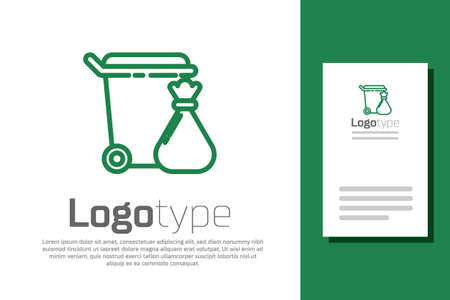 Green line Trash can and garbage bag icon isolated on white background. Garbage bin sign. Recycle basket icon. Office trash icon. Logo design template element. Vector Illustration