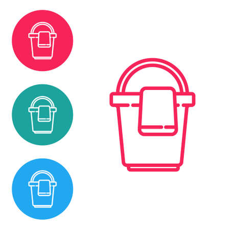 Red line Bucket with rag icon isolated on white background. Cleaning service concept. Set icons in circle buttons. Vector Illustration
