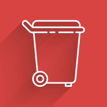 White line Trash can icon isolated with long shadow. Garbage bin sign. Recycle basket icon. Office trash icon. Vector Illustration