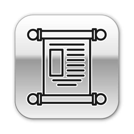 Black line Decree, paper, parchment, scroll icon icon isolated on white background. Chinese scroll. Silver square button. Vector Illustration Illustration