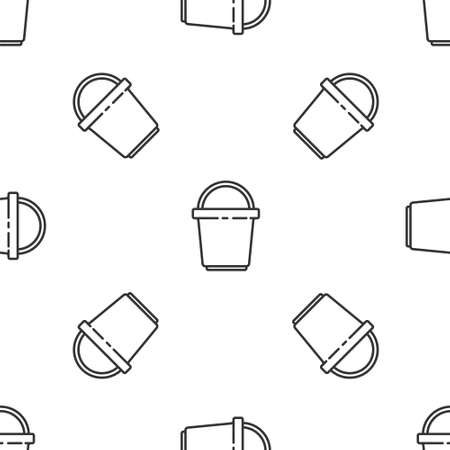 Grey line Bucket icon isolated seamless pattern on white background. Cleaning service concept. Vector Illustration