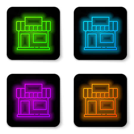 Glowing neon line Shopping building or market store icon isolated on white background. Shop construction. Black square button. Vector Illustration