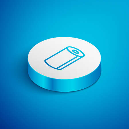 Isometric line Paper towel roll icon isolated on blue background. White circle button. Vector Illustration