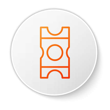 Orange line Coupon icon isolated on white background. Empty shopping discount sticker. Template discount banner. White circle button. Vector Illustration