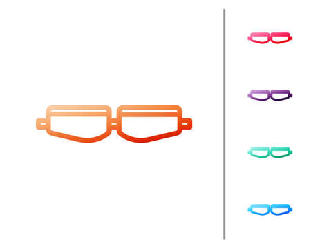 Red line Safety goggle glasses icon isolated on white background. Set color icons. Vector Illustration Ilustracja