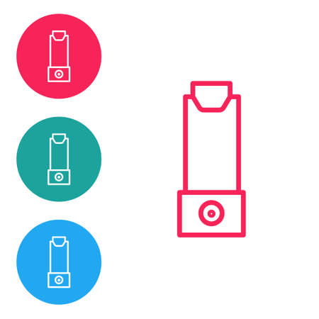 Red line Inhaler icon isolated on white background. Breather for cough relief, inhalation, allergic patient. Set icons in circle buttons. Vector Illustration