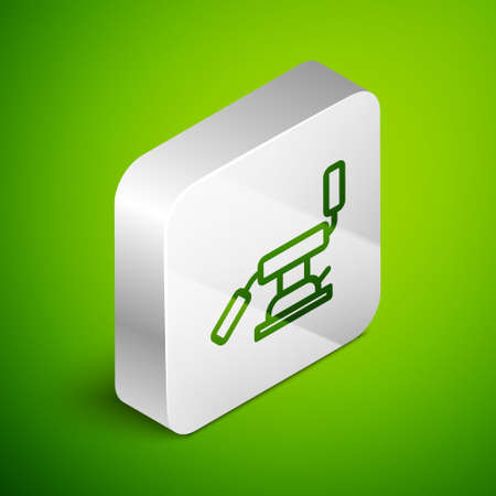 Isometric line Medical dental chair icon isolated on green background. Dentist chair. Silver square button. Vector Illustration Vettoriali