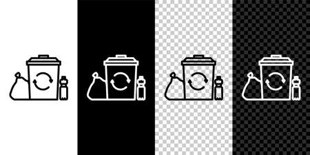 Set line Recycle bin with recycle symbol icon isolated on black and white background. Trash can icon. Garbage bin sign. Recycle basket. Vector Illustration Stock Illustratie