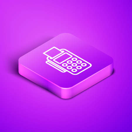 Isometric line POS terminal with inserted credit card and printed reciept icon isolated on purple background. NFC payment concept. Purple square button. Vector Illustration