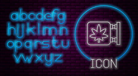 Glowing neon line Marijuana and cannabis store icon isolated on brick wall background. Equipment and accessories for smoking, storing medical cannabis. Neon light alphabet. Vector Illustration Stock Illustratie