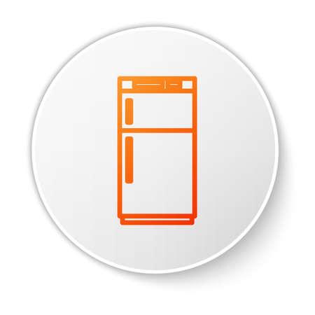 Orange line Refrigerator icon isolated on white background. Fridge freezer refrigerator. Household tech and appliances. White circle button. Vector Illustration Ilustração