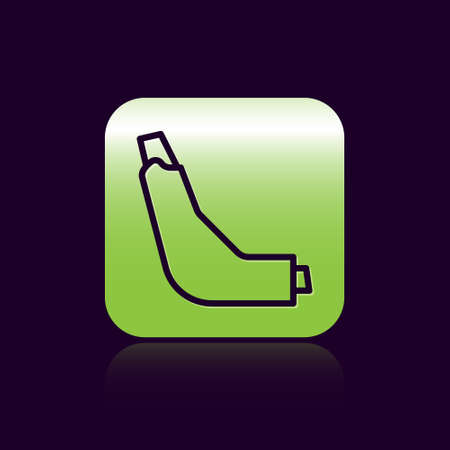 Black line Inhaler icon isolated on black background. Breather for cough relief, inhalation, allergic patient. Green square button. Vector Illustration 向量圖像