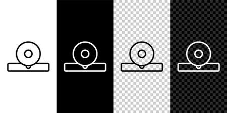 Set line Otolaryngological head reflector icon isolated on black and white background. Equipment for inspection the patients ear, throat and nose. Vector Illustration 矢量图像