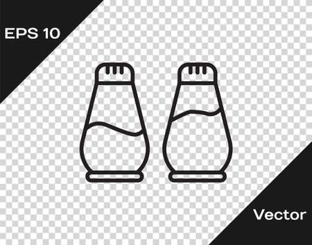 Black line Salt and pepper icon isolated on transparent background. Cooking spices. Vector Illustration