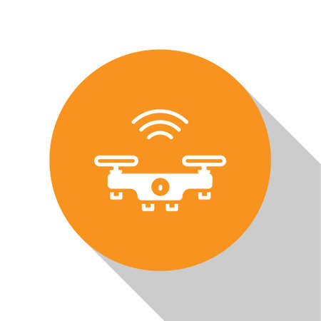 White Smart drone system icon isolated on white background. Quadrocopter with video and photo camera symbol. Orange circle button. Vector Ilustração